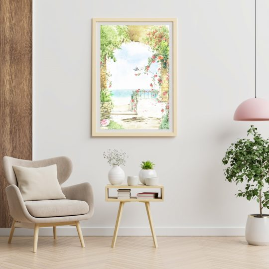 Poster mockup with vertical frames on empty white wall in living